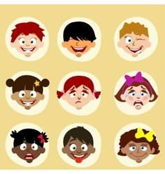 Emotions and nationality avatars children vector