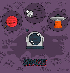 space flat concept icons vector image