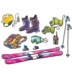 Backcountry Freeride Stuff Set for the Skiers vector image