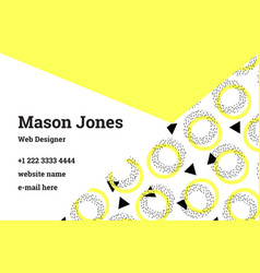 business card template in the style of memphis vector image vector image