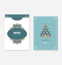 christmas party invitation and envelope template vector image vector image