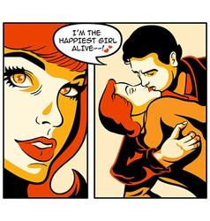 Comics love story vector image