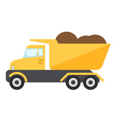 construction truck icon flat style vector image vector image
