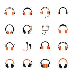 headphones icon set vector image