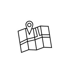 pin with map line icon navigation and location vector image