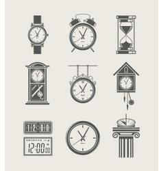 retro and modern clock set vector image