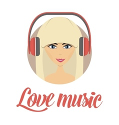 Smiling young girl listening music avatar vector image vector image
