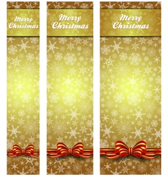 Snowflakes Christmas Web Banners Gold Vertical vector image vector image