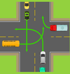 turn rules on four-way intersection diagram vector image vector image