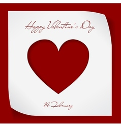Valentines Day paper background with red cutting vector image vector image