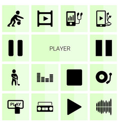 14 player icons vector