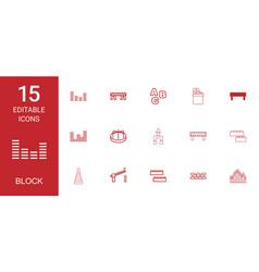 15 block icons vector