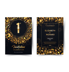 1st year birthday black paper luxury vector