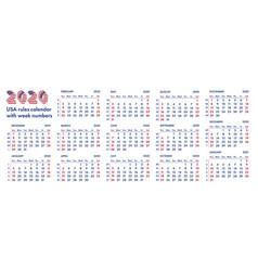 2020 american calendar weeks vector