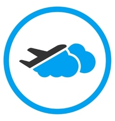 Airplane Over Clouds Rounded Icon vector image