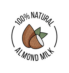 Almond milk flat nuts with green leaves vector