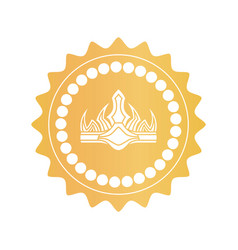 Ancient crown on royal quality mark of gold color vector