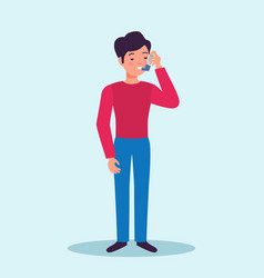asthma patient flat character vector image