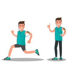athlete during and after a run vector image