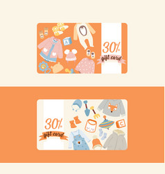 baby shop shopping gift card of cartoon kids toys vector image