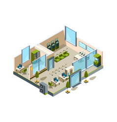 Bank isometric modern building interior office vector