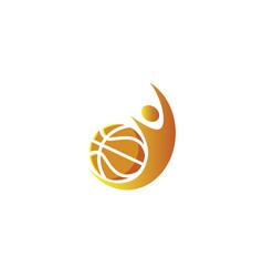 basketball player smash and serving ball for logo vector image