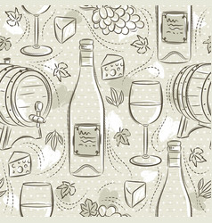 Beige seamless patterns with white wine set cask vector