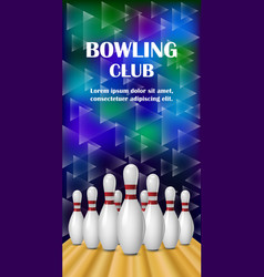 Bowling club banner realistic style vector