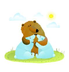 Brown bear hugs two white baby bears vector