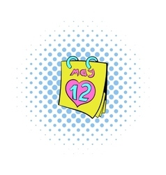 Calendar with Mothers Day date icon comics style vector image