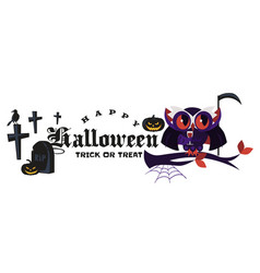 cartoon halloween logo dracula owl flat poster vector image