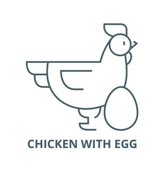 chicken with egg line icon chicken with vector image