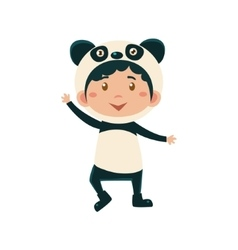 Child Wearing Costume of Panda vector image