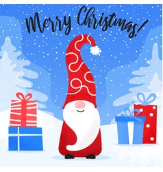 christmas card with cute gnome in funny hat and vector image