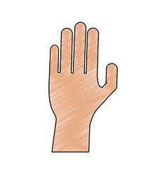 Color pencil cartoon hand human palm vector