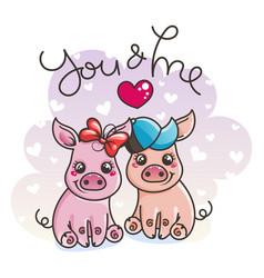 cute cartoon baby pigs in love vector image