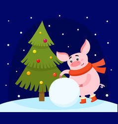 cute cartoon pig making snowball and christmas vector image