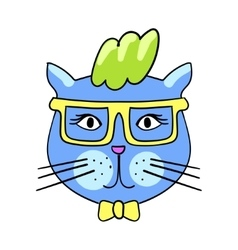 Cute fashion cat with sunglasses Trendy quirky vector