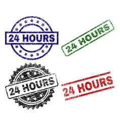 damaged textured 24 hours stamp seals vector image