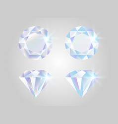 diamond set realistic jewels isolated on white vector image