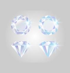 diamond set realistic jewels isolated on white vector image