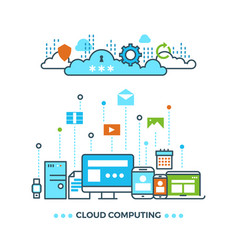 digital cloud computing computer data storage vector image