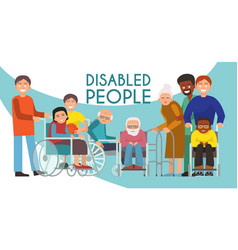 Disabled peolple active life banner handicapped vector