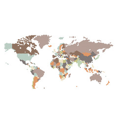 dotted world map hexagonal dots vector image