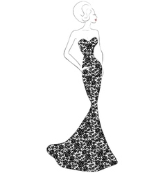 evening lace dress vector image