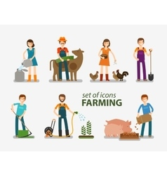 Farming and cattle breeding set of icons People vector