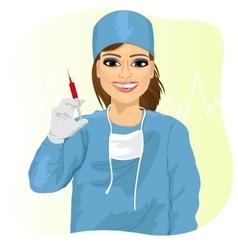Female doctor holding a syringe vector image