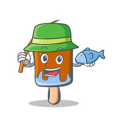 Fishing ice cream character cartoon vector