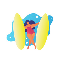flat woman surfing waves cartoon summer trendy vector image