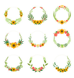 floral wreath with sunflowers and leaves set vector image
